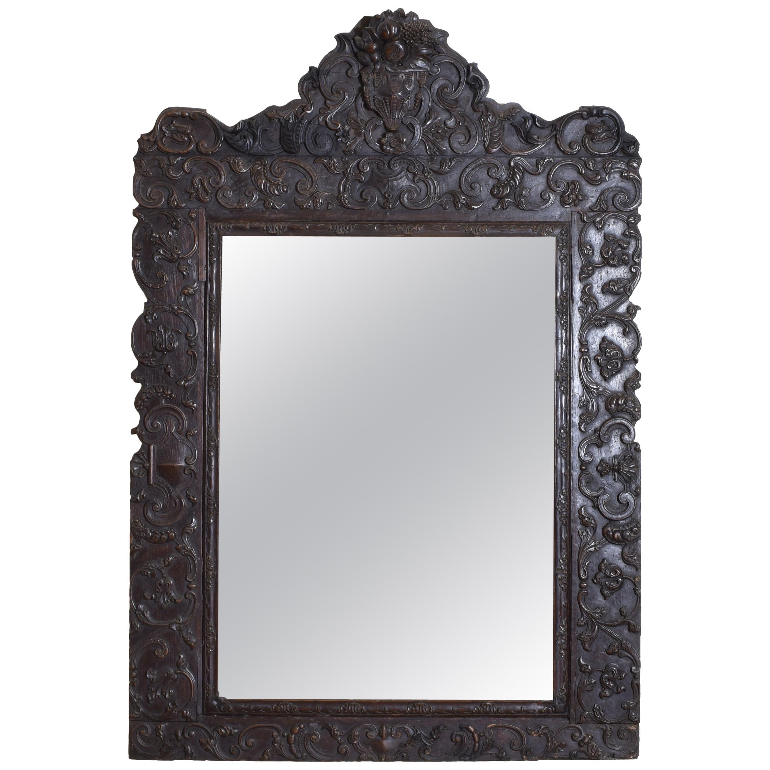 Portuguese Rococo Sizable Carved Walnut Mirror, Mid-18th Century