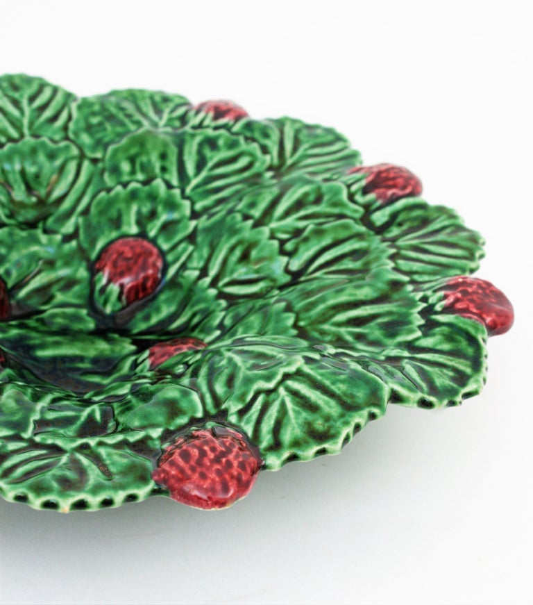 Portuguese Strawberry Leaf Glazed Ceramic Decorative Platter 3