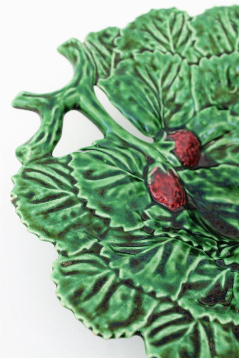 Portuguese Strawberry Leaf Glazed Ceramic Decorative Platter 4
