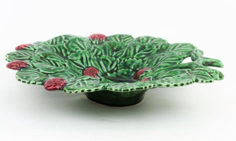 Portuguese Strawberry Leaf Glazed Ceramic Decorative Platter 6