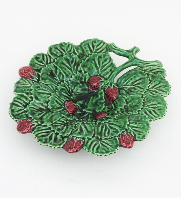 20th Century Portuguese Strawberry Leaf Glazed Ceramic Decorative Platter