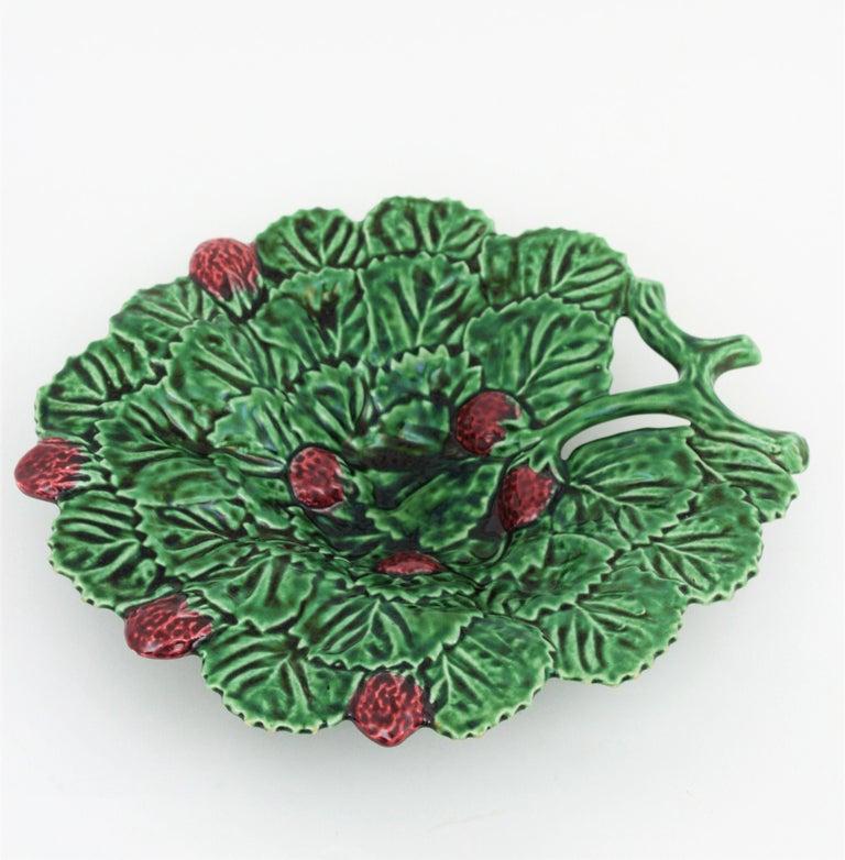 Portuguese Strawberry Leaf Glazed Ceramic Decorative Platter 1
