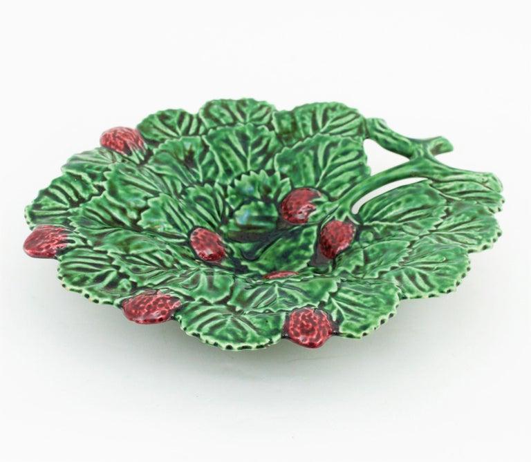 Portuguese Strawberry Leaf Glazed Ceramic Decorative Platter 2