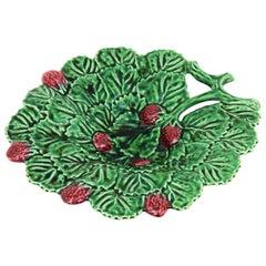 Portuguese Strawberry Leaf Glazed Ceramic Decorative Platter