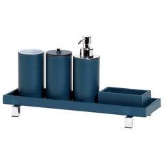 Poseidon Blue Leather Round Bath Set