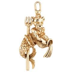 Poseidon Charm Vintage 14 Karat Yellow Gold King Neptune Pendant Estate Jewelry