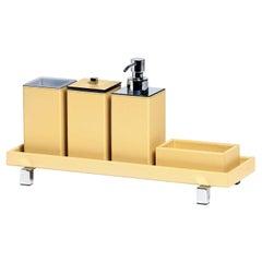 Poseidon Yellow Leather Square Bath Set