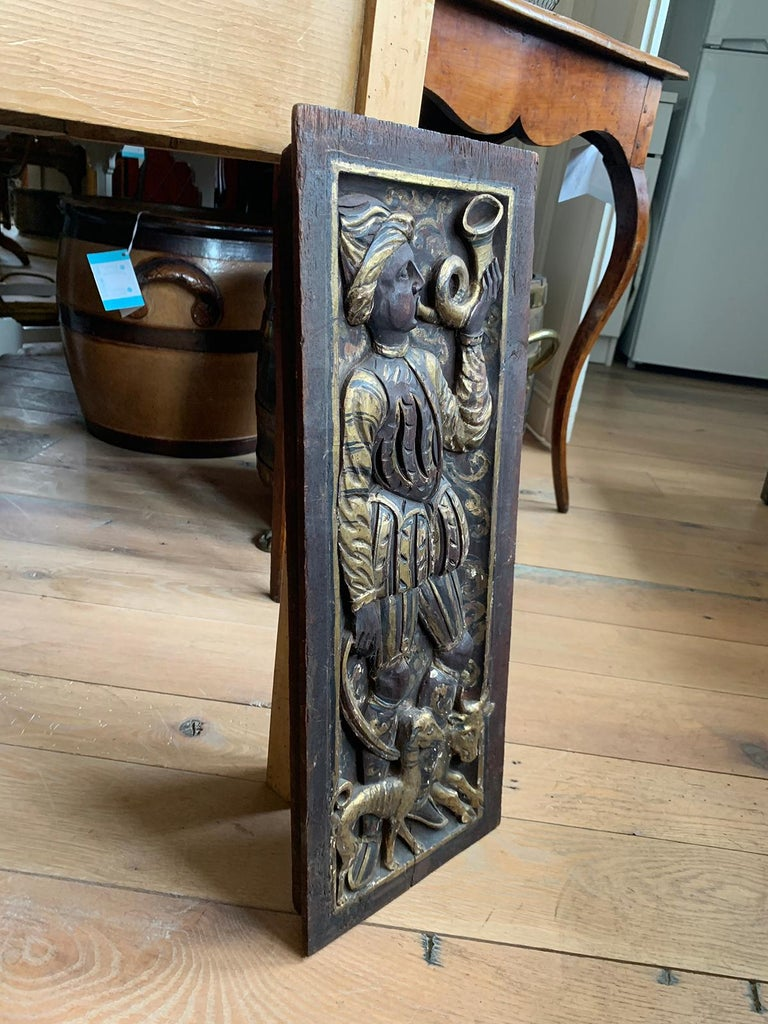 Hand-Carved Poss, 19th Century Eastern or Persian Openwork Giltwood Carved Plaque Musician For Sale