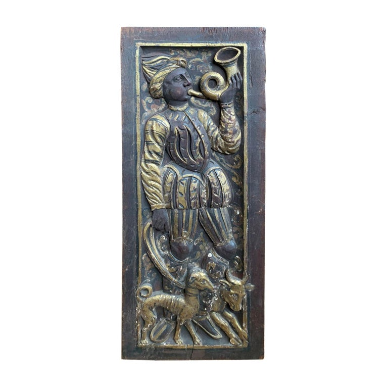 Poss, 19th Century Eastern or Persian Openwork Giltwood Carved Plaque Musician For Sale