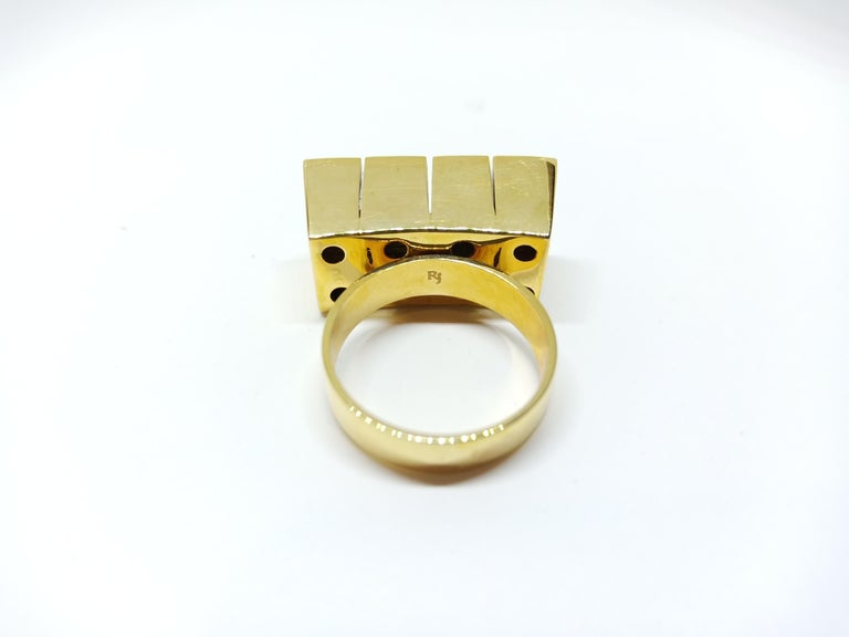 Rose Cut Possess, Influence, Cherish, Pass On, with One of a Kind Yellow Diamond Ring For Sale