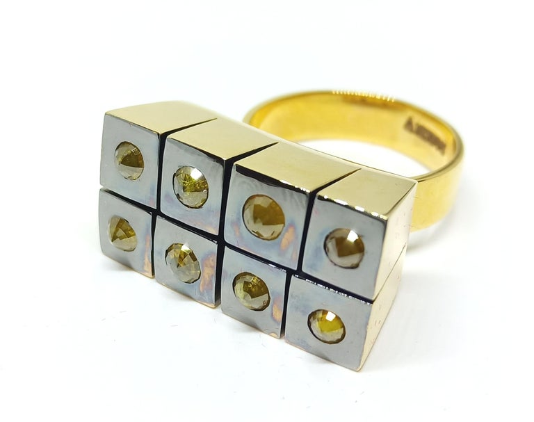 Possess, Influence, Cherish, Pass On, with One of a Kind Yellow Diamond Ring For Sale 1