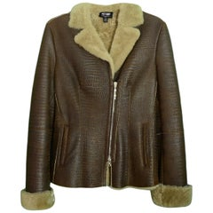 Post Card Brown Shearling Jacket sz 4