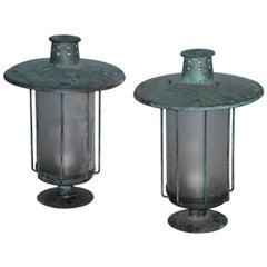 Post Lanterns, a Pair, Origin: Sweden, Circa 1920-1930
