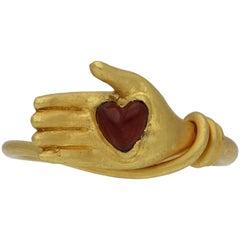Post Medieval Garnet Heart Ring, circa 17th-18th Century