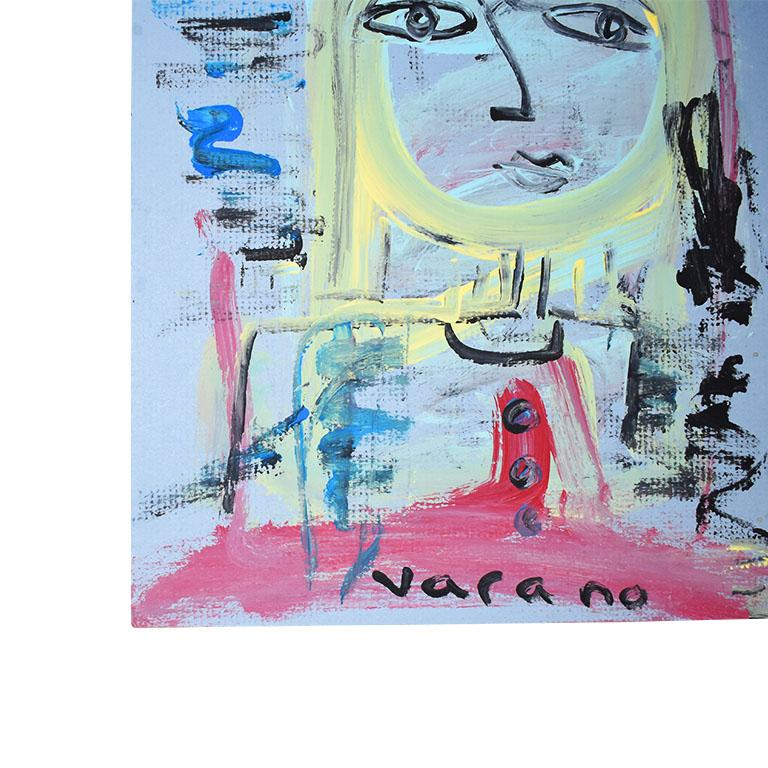 A striking outsider painting depicting a woman with blonde hair. The artist used a wonderful bright pallet of bright pink, blue, yellow and black. This piece is painted on hard paper and is ready for framing.   Dimensions: 11.5