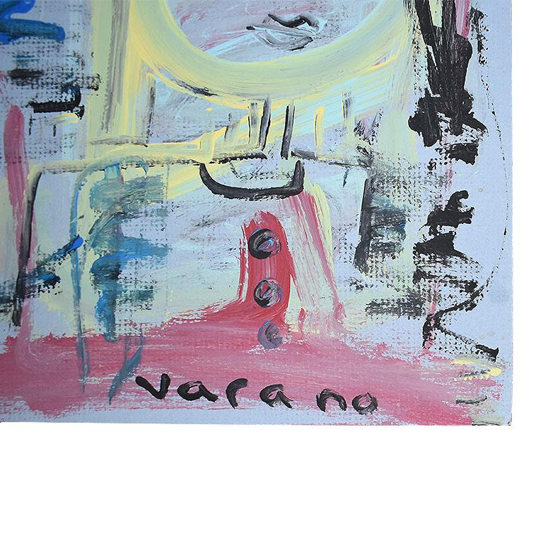 Post-Modern Postmodern Abstract Cubist Portrait Painting of a Woman on Blue For Sale