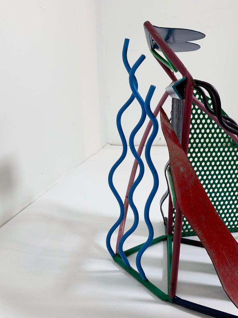 Postmodern Abstract Welded Steel and Enameled Sculpture, circa 1980s For Sale 4