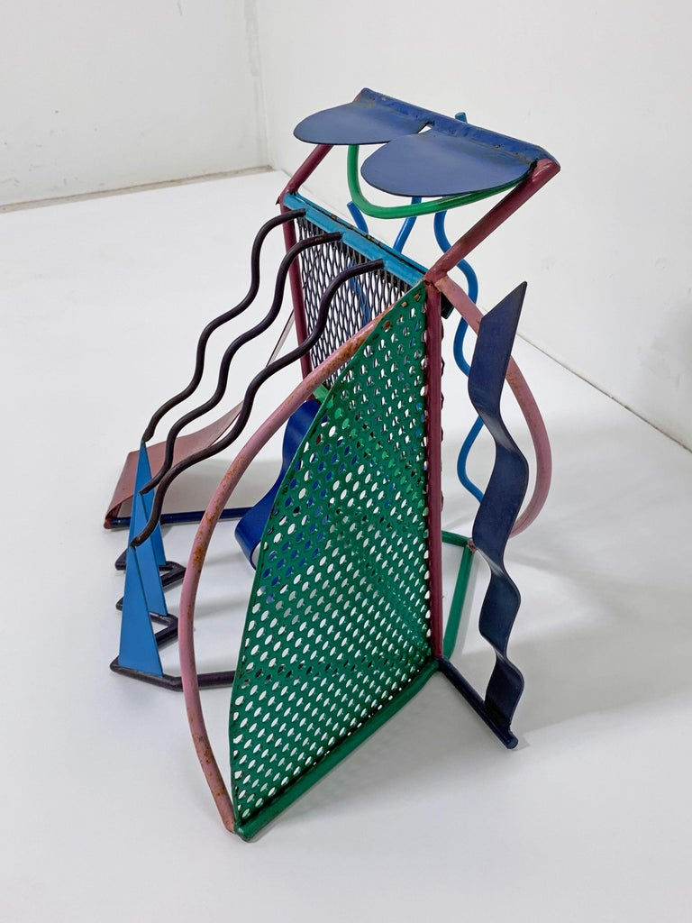 Post-Modern Postmodern Abstract Welded Steel and Enameled Sculpture, circa 1980s For Sale