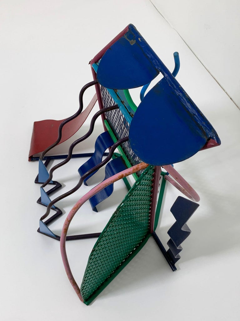 Postmodern Abstract Welded Steel and Enameled Sculpture, circa 1980s In Good Condition For Sale In Peabody, MA