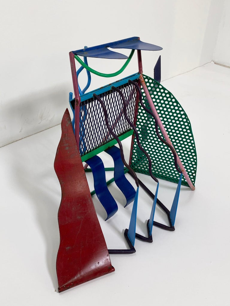 Late 20th Century Postmodern Abstract Welded Steel and Enameled Sculpture, circa 1980s For Sale