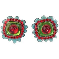 Post Modern Acrylic & Rhinestone Earrings