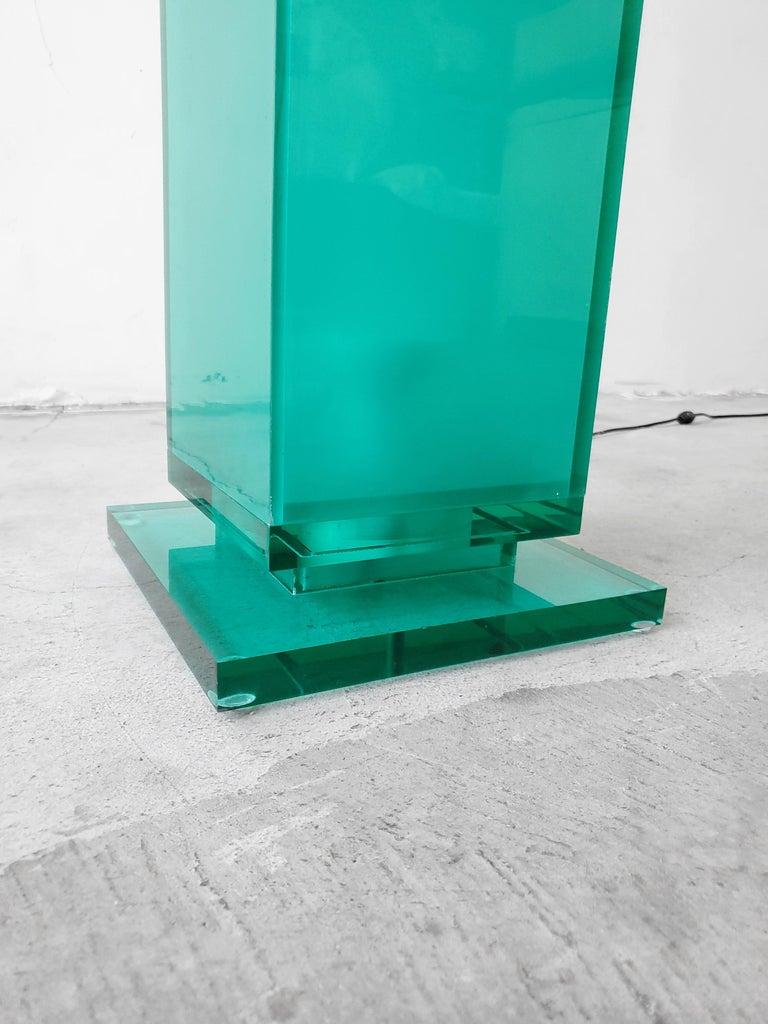 20th Century Postmodern Aqua Green Lucite Floor Lamp For Sale