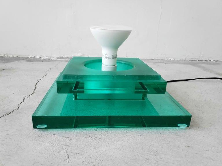 Postmodern Aqua Green Lucite Floor Lamp For Sale 1