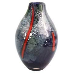 Postmodern Art Studio Glass Vase in Blue with Silver Flecks and Red Strips