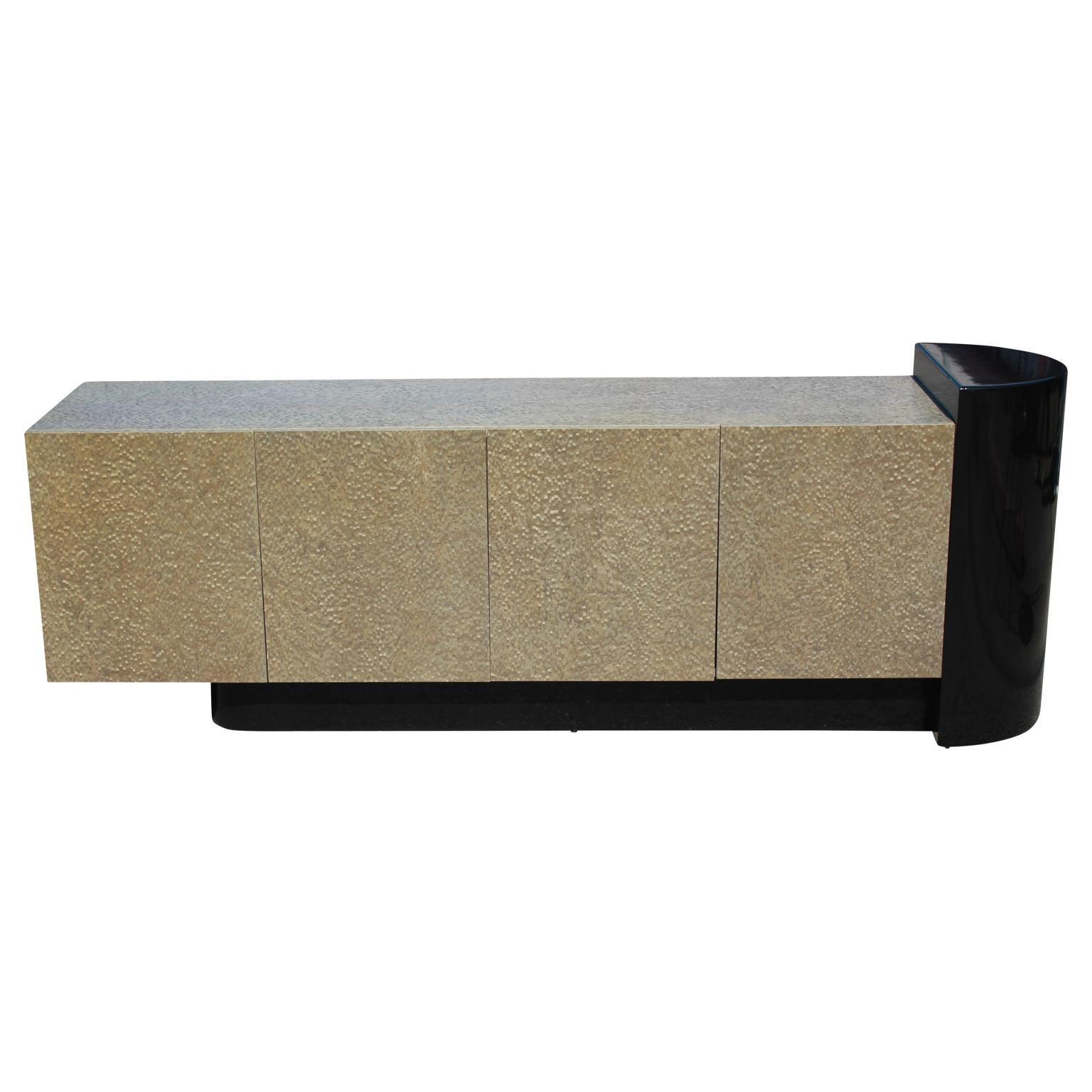 Postmodern Asymmetrical Cantilevered Two-Tone Burl Veneer Sideboard or Credenza
