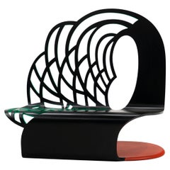Postmodern Bench with High Back by Alan Siegel, 1986. Signed. #2 in the Edition