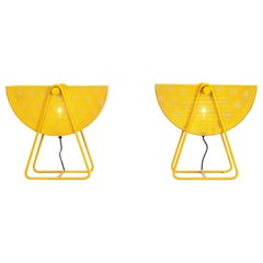 Postmodern Bieffeplast Yellow Table Lamps with Adjustable Shades