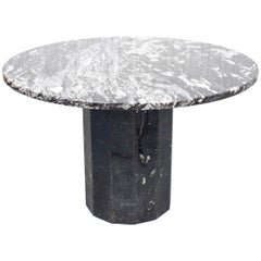 Post-Modern Black and White Marble Dining Table
