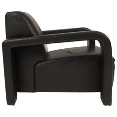 Post Modern Black Leather Lounge Chair Made by Marinelli, Italy