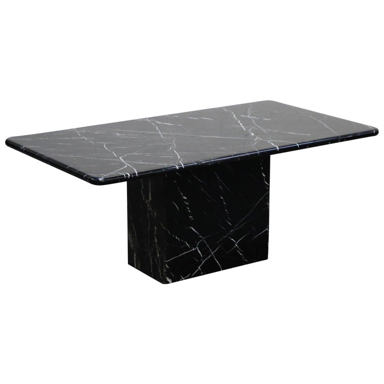 Post Modern Black Marble Rectangular Dining Or Conference Table Circa 1980s At 1stdibs