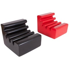 Postmodern Black & Red Karelia Lounge Chairs by Liisi Beckmann for Zanotta