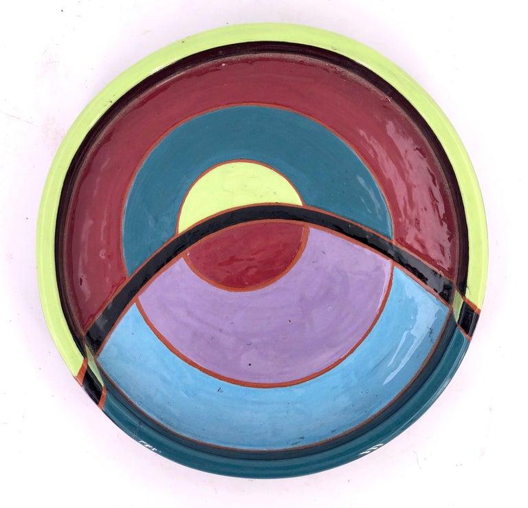 Post-Modern Postmodern Ceramic Decorative Low Bowl by Linda Tarr Artist For Sale