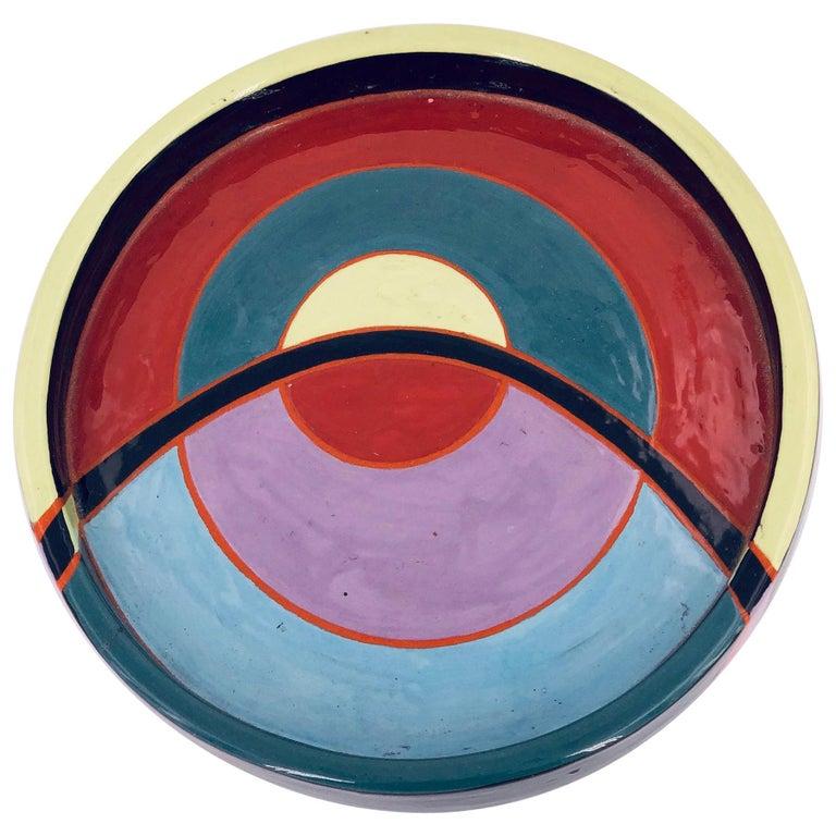 Postmodern Ceramic Decorative Low Bowl by Linda Tarr Artist For Sale
