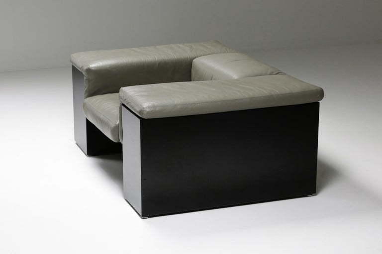 Late 20th Century Post-Modern Cini Boeri 'Brigadier' Lounge Chairs in Elephant Grey Leather For Sale