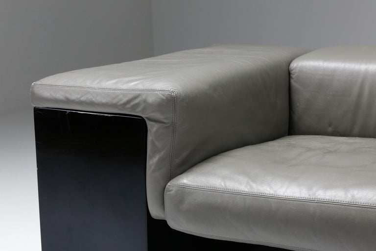 Post-Modern Cini Boeri 'Brigadier' Lounge Chairs in Elephant Grey Leather For Sale 1