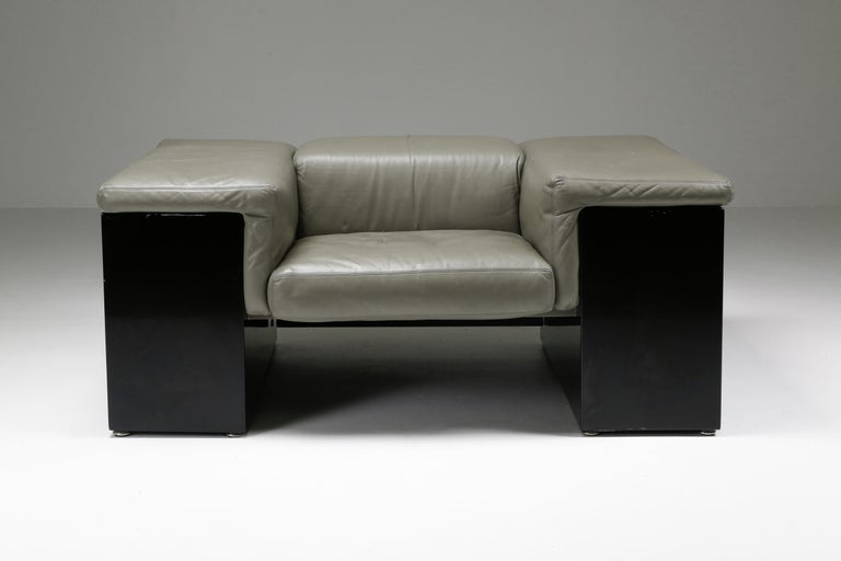 Post-Modern Cini Boeri 'Brigadier' Lounge Chairs in Elephant Grey Leather For Sale 2