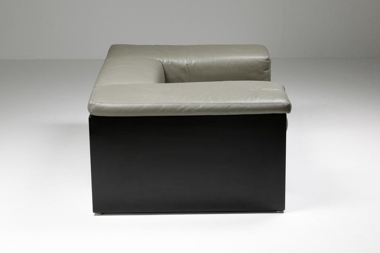 Post-Modern Cini Boeri 'Brigadier' Lounge Chairs in Elephant Grey Leather For Sale 3