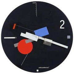 Post Modern Constructivist Geometric Nicolai Canetti Art Time Wall Clock 1984