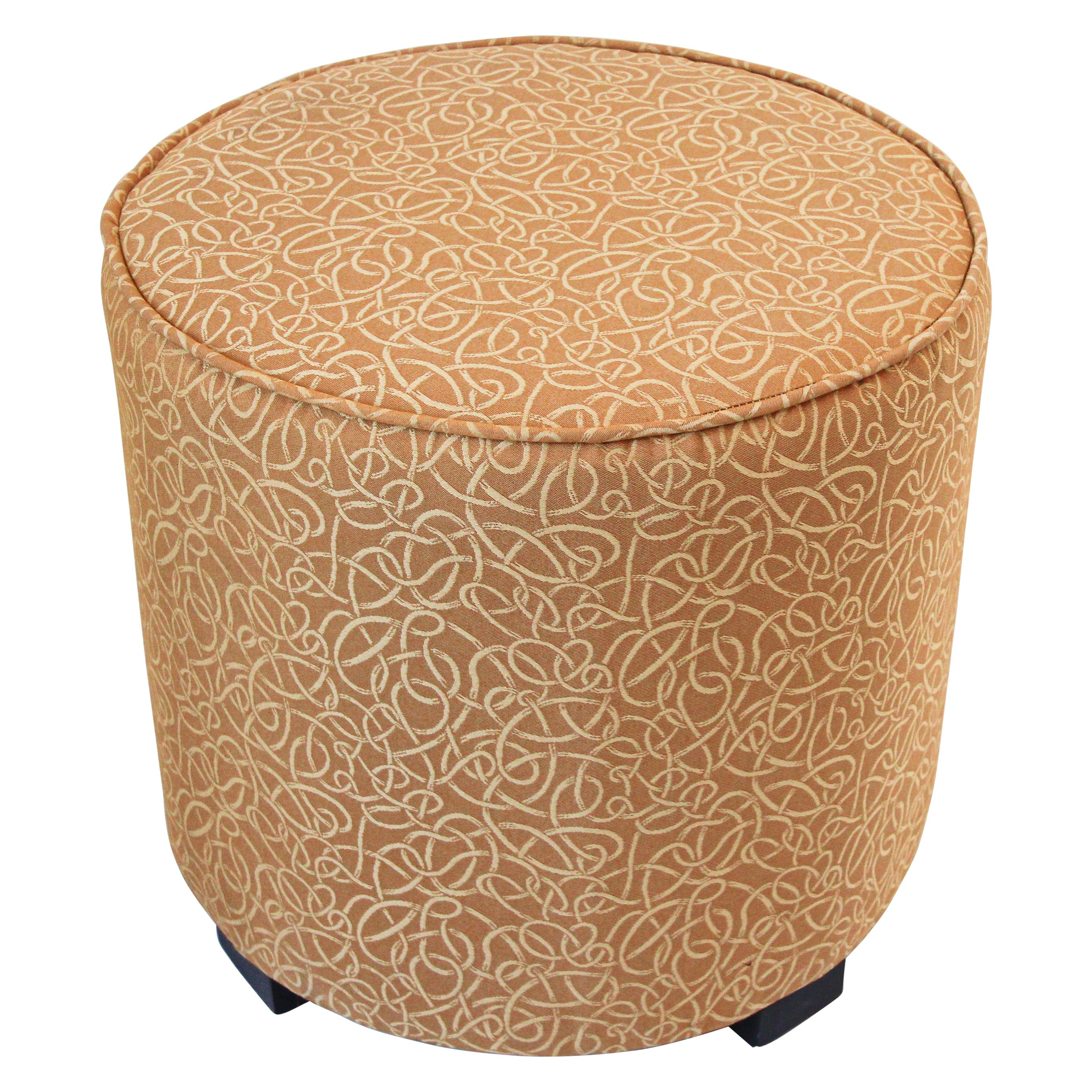 Post Modern Cylindrical Moroccan Pouf Upholstered in Gold Fabric