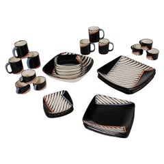 "Postmodern Dinnerware Set by Dorothy Hafner for Tiffany & Co. ""Chevron"" Print"