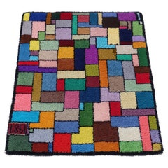 Vibrant Geometric Post Modern Folk Art Hook Rug, Mondrian Themed