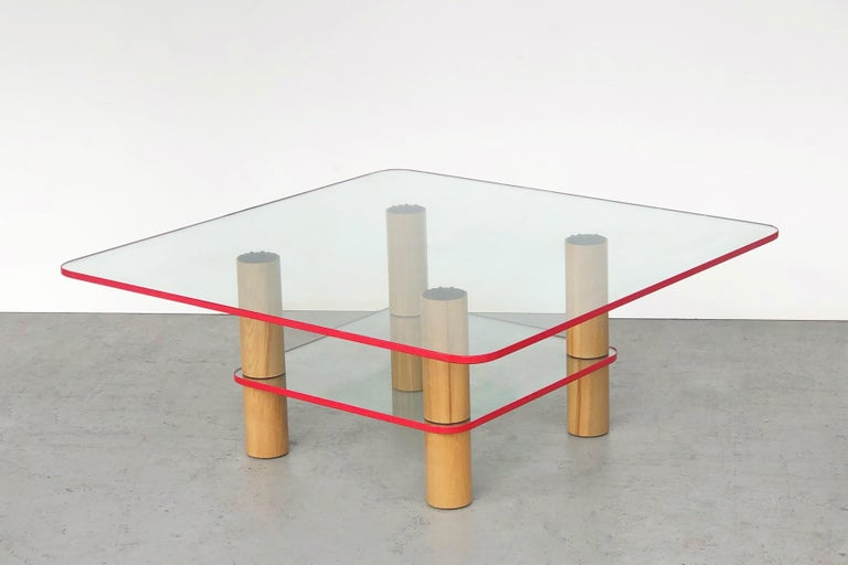 Italian Post Modern Glass and Wood Coffee Table with Red Edge, 1980 For Sale