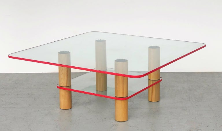 Late 20th Century Post Modern Glass and Wood Coffee Table with Red Edge, 1980 For Sale