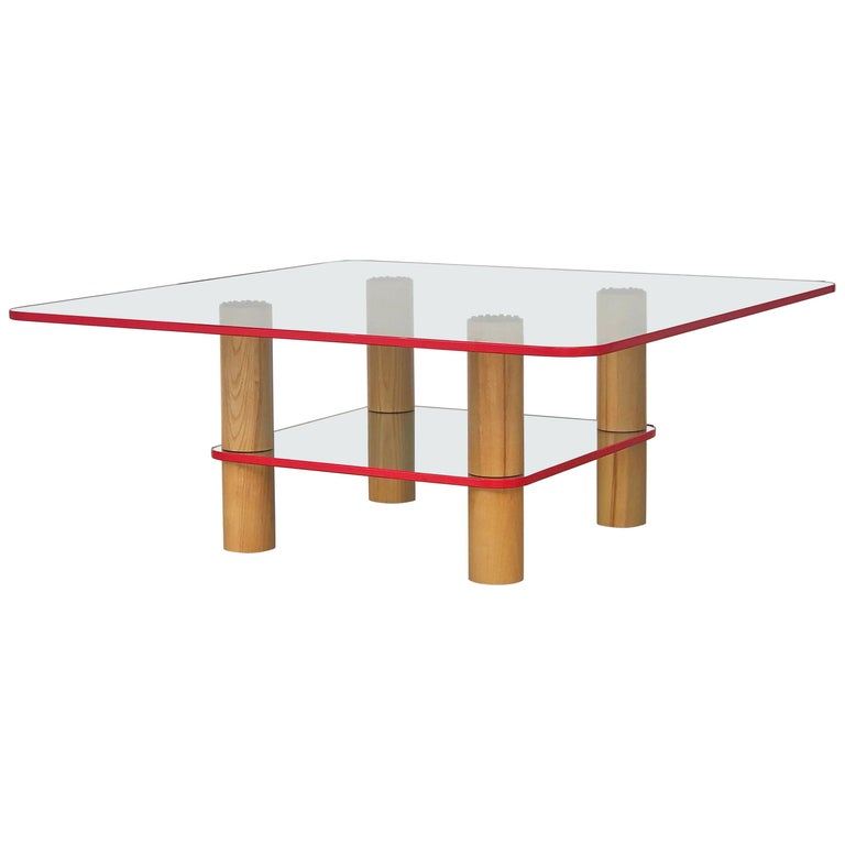 Post Modern Glass and Wood Coffee Table with Red Edge, 1980 For Sale