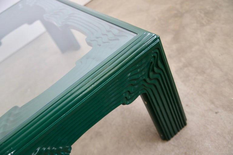 Post-Modern Postmodern Green Lacquer Coffee Table For Sale