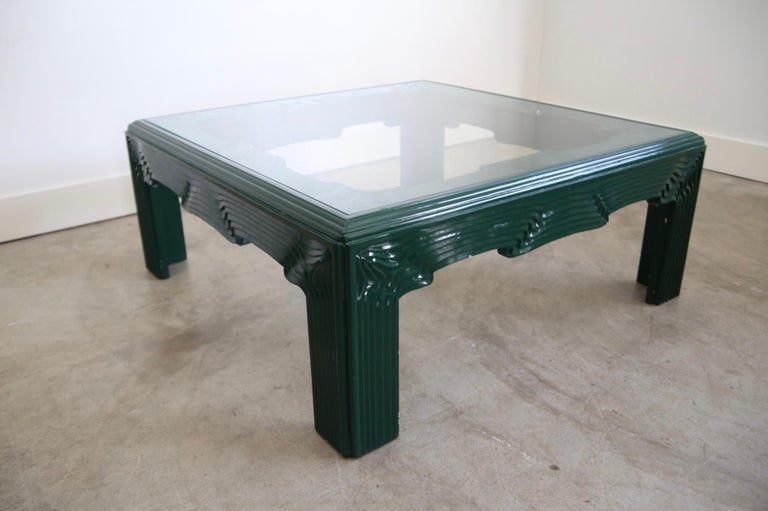 American Postmodern Green Lacquer Coffee Table For Sale